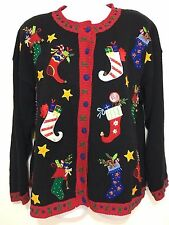 Ugly Christmas Sweater Womens L Black Red Colorful Stockings Presents Tiara Int