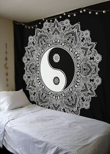 Indian Yin Yang Mandala Tapestry Hippie Wall Hanging Queen Size Bedspread Ethnic