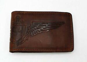 Mens Flip Wallet Fossel Brown Leather Money Clip Bifold 54 Wing Aviator