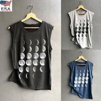 US Women Summer Print Vest Casual Loose Sport T Shirt Sleeveless Top Tank Blouse