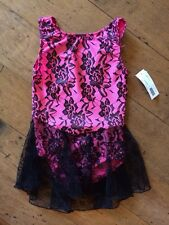 NEW Motionwear Lace Hot Pink Black Ice Skating Dance Ballet Dress Girls Int 6-7