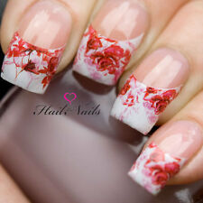 Nail WRAPS Nail Art Water Transfers Decals French Red Rose Nail Tips Y70