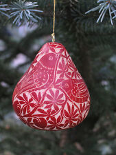 Red Tropical Jungle Hand Carved Gourd Christmas Ornament with Bird Design