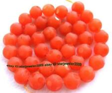 "Orange Jade 10mm Round Faceted Gemstone Beads 15"""