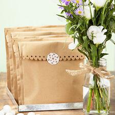 KRAFT MARRONE Sacchi di Carta X 8 E ADESIVI matrimonio / artigianato / favorisce / SHOP confezionamento