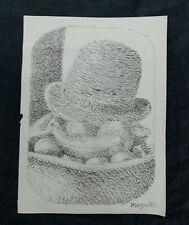 Magritte ink on paper, vintage, rare,