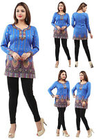 Women Fashion Indian Short Kurti Printed Blue Tunic Kurta Top Shirt Dress 28E