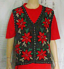 Ugly Christmas Sweater Vest In Resource size M pointsettia embroidered quilted