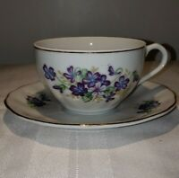 VINTAGE SET OF 4 TEA CUPS & SAUCERS PURPLE VIOLETS MADE IN JAPAN
