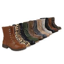Geschnürte Herren Damen Worker Boots Camouflage Army Look 813636 Schuhe