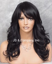 Black HEAT SAFE Wavy Light Weight Wig Bangs Layered NGBY 1