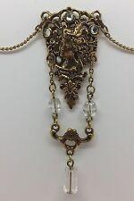Fashionable Gold-tone & Bead Art Nouveau Style Necklace, Jewelry (RF570)