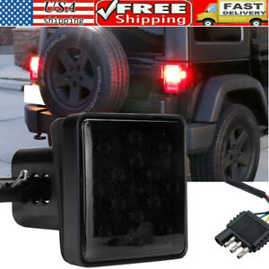 """NEW 2"""" Smoked 15-LED Brake Light DRL Trailer Hitch Cover Fit Towing & Hauling US"""