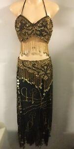 Silk Beaded Harem Belly Dancer Arabian Sexy Womens Costume M/L 10/12