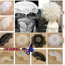 Handmade Cotton Lace Parasol Umbrella + Hand Fan For Bridal Wedding Bridal Party