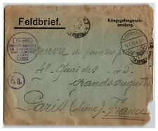 Germany 1915 POW Cover to France / Fold / Edge Tears - Z13923