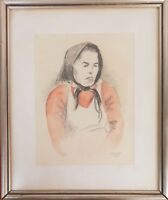 PORTRAIT DE FEMME. DESSIN SUR GRAPHITE ET AQUARELLE SUR PAPIER. JULI RAMIS. 1937