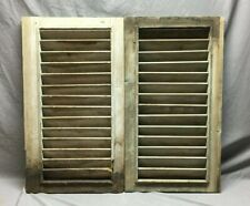 Small Pair Antique House Window Wood Louvered Green Shutters 18 x 32  Vtg 86-19B