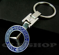 Porte clé Métal Neuf - Mercedes Benz - (Contour Bleu)