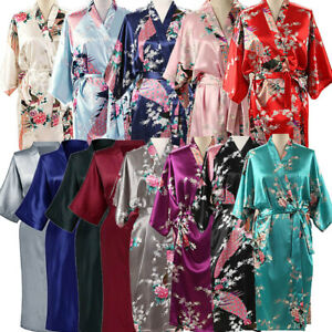 Bride Long Womens Kimono Robe Satin Night Dressing Gown Nightwear PLUS SIZE 8-24