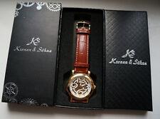 Kronen & Söhne Herrenuhr Automatik Armbanduhr Uhr Skelettuhr Lederarmband w. Neu