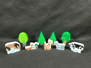 Wooden Train Set Wood Animals Horse Duck Cow Dog Cat Trees set Lot See Pictures