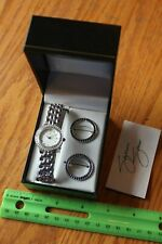 Suzanne Somers watch interchangeable colored faces rhinestone blue or black
