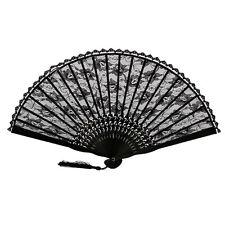 Lady Women Janpanese Chinese Folding Hand Fan Bamboo Lace Vintage Retro OZ