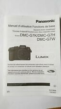 INSTRUCTION MANUAL BOOK FOR PANASONIC LUMIX DMC- G7 DMC-G7H FMC-C7W IN FRENCH