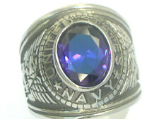 United States Navy Military February Purple Stone Stainless Steel Men Ring Sz 10