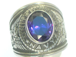 United States Navy Military February Purple Stone Stainless Steel Men Ring Sz 8