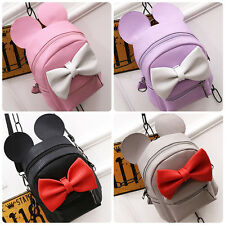 Women Girls Minnie Mouse Backpack Bow Leather Shoulder Bags Travel School Bag