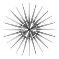 Sunburst Wall Clock Silver Large Analogue Quartz Time Piece Easy Read Hanging