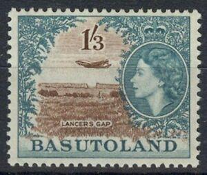 BASUTOLAND 1954 QEII 1/3d. PLANE OVER LANCERS GAP LHM (ID:835/D31527)