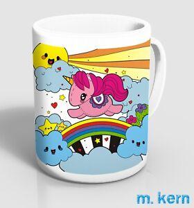 Tassen Einhorn 9,5 cm Kaffee Unicorn Regenbogen Sonne Becher Keramik