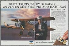 1986 VISA Premier Card 2-page advertisement, with Learjet's Jim Taylor