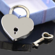 Heart Shape Padlock With Key Silver Alloy Lock for Security Luggage Accessories