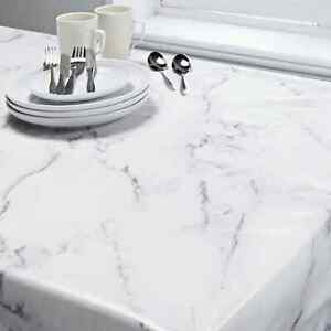 Marble Effect Tablecloth PVC White Grey Vinyl Wipe Clean 132 x 178cm Table Cloth
