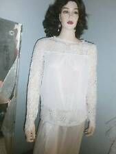 WHITE POLY-CHIFFON TOP DRIPPING WITH CHUNKY LACE -- Size  S/M