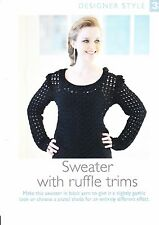 """LADIES~SWEATER~RUFFLE TRIMS~SLIGHTLY GOTHIC  CROCHET PATTERN~SIZE 32-38""""  (DS33)"""