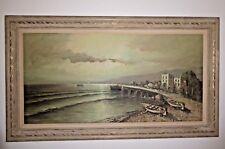 "Original Vintage ""Fishing Boats"" Framed Oil Painting Signed Unique Crackle Paint"