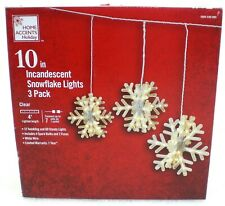 """Home Accents Holiday 10"""" Snowflake Lights 3 Pack Incandescent Twinkling NEW!"""