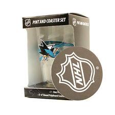 SAN JOSE SHARKS NHL PINT GLASS AND 4 COASTER SET NEW FREE SHIPPING