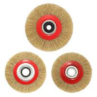 3X(Wire Brush Wheel for Bench Grinder Polish + Reducers Adaptor B8U5)