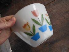 "Vintage FIRE KING Tulip Milk Glass Mixing Bowl  7 1/2"" X 4 3/4""  Splashless"