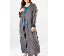 plus size Dreams CO marled knit LOUNGER ROBE 1X 22 24 charcoal f3