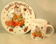 Santa's Magical Cookies Plate And Mug Cup Vintage Stoneware Sakura