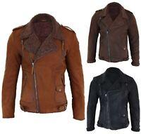 Blouson homme noir marron fermeture diagonale cuir véritable biker doublure