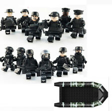 12 Custom LEGO Figures SWAT Minifigures plus Boat - Army Military Minifigs