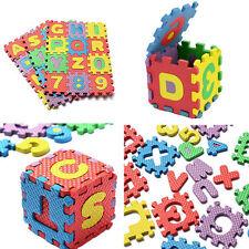 Tappetino Tappeto Puzzle Con Lettere E Numeri In Gomma Set 36 Pezzi Cm.6x6 dfh